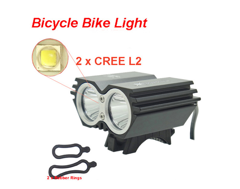 Bike Light X2 L2 5000 Lumen SolarStorm Bicycle lamp 2x Cree XML L2 LED BicycleLight Bike headLamp+O ring (only headlight) kx mt8 cree xml l2 4 mode 2 led 1200lm led bicycle lamp