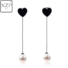 XZP Pearl Earrings Fashion Delicate Black Enamel Heart Girl Long Temperament Simple Fresh Wholesale