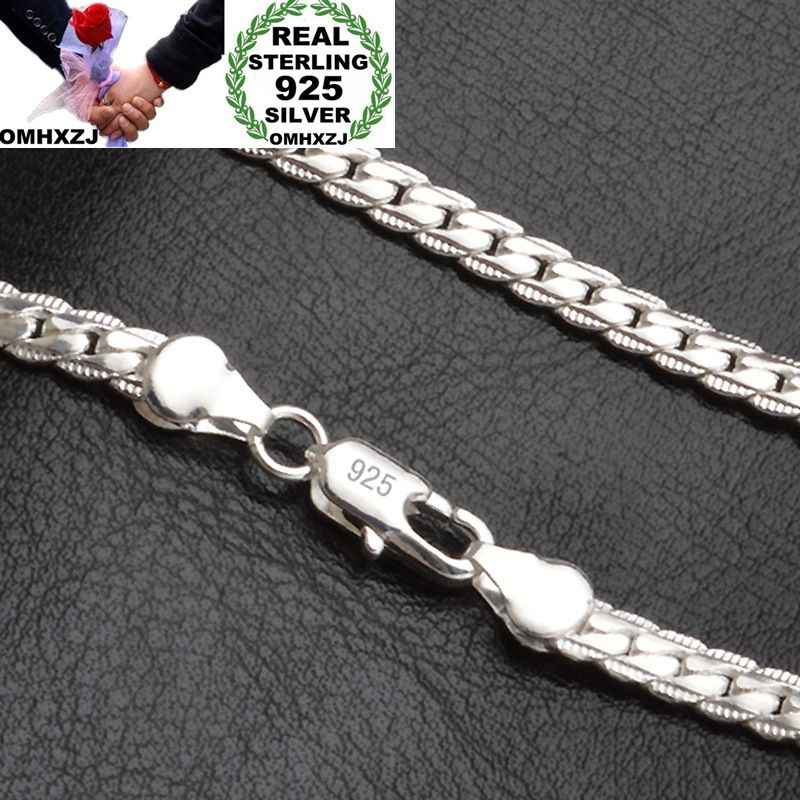 OMHXZJ Wholesale Personality Fashion OL Woman Girl Gift Silver 5MM Full Lateral Chain 925 Sterling Silver Chain Necklace NC187