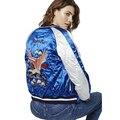 Вышивка зима бомбардировщик куртка женщин основные пальто орел тигр вышитые дамы сувенир куртка износ обеих сторон sukajan куртка