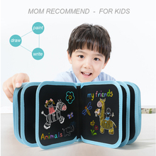 Fully Black Kids Portable Drawing Board Blackboard Book for Children Colouring Doodle Painting Toys Repeatable
