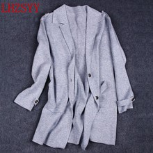 LHZSYY NEW Autumn and winter women's Cashmere Sweater Coat Loose Long section knitting Wool Cardigan suit collar jacket thick