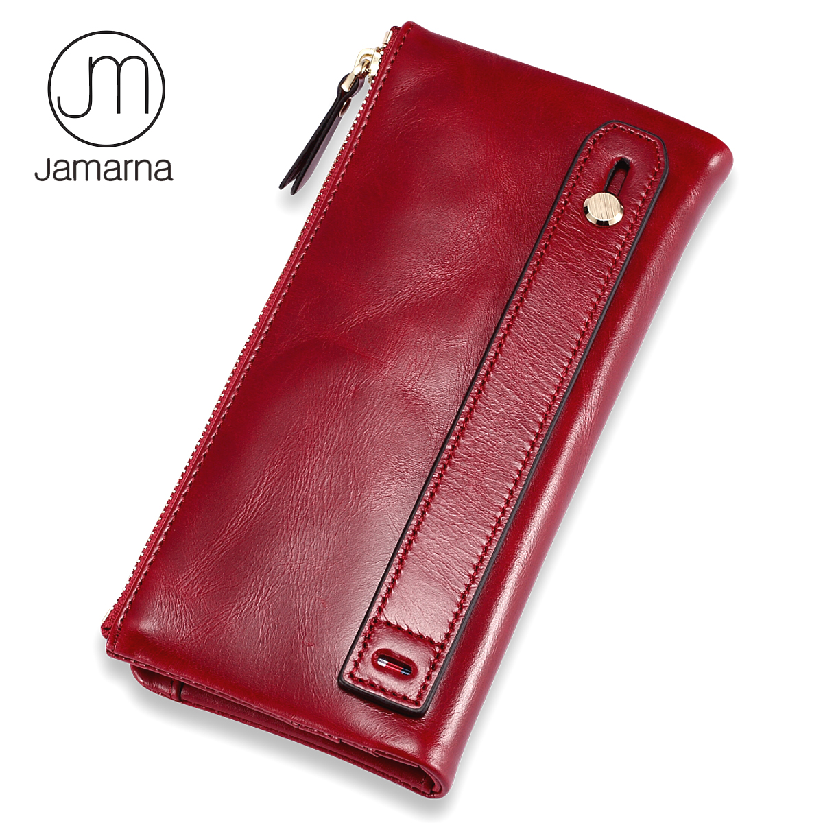 Jamarna Purse Genuine Leather Wallet Female Long Clutch Women Purse With Coin Pocket Women Wallets With Card Holders Purse Women jamarna genuine leather wallet for wallet long clutch zipper packet coin purse card holder phone wallet brand free shipping new