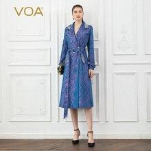 VOA Silk Jacquard Cool Trench Coat Women Purple Elegant Ladies Overcoat Autumn Long Sleeve Belt Luxury Windbreaker Runway F339