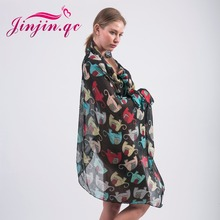 Jinjin QC fahion viscose scarf Spring women Cartoon baby elephant print scarves and wraps warm