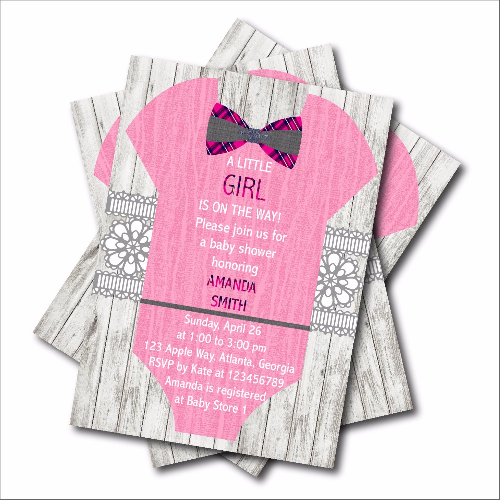 20 pcs/lot Personalized Girl Dress Baby Shower invitations Birthday ...