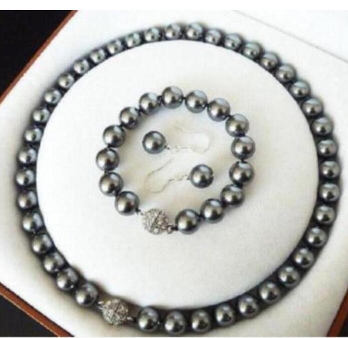 dark grey shell pearl necklace 8mm bracelet earring set