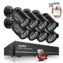 SANNCE 8CH Sicherheit Kamera-system 1080N DVR Neu Anordnen mit 1 TB Festplatte und 8 stücke HD 720 P Outdoor Cctv-kameras