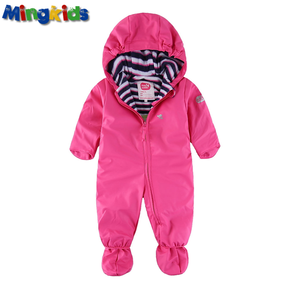 Mingkids girl outdoor   rompers   PU hooded fleece padded Jumpsuit Warm thicken rain windproof waterproof autumn spring Recommend