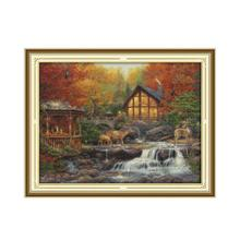 Deer Drinking Near the Stream Counted Cross Stitch 11CT 14CT Landscape Kits Printed Fabric DMC Needlework Embroider