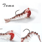 TOMA 1PCS Soft Shrimp Fishing Lures Artificial Shrimp Baits 7g/13g/19g Soft Lure Bionic Bait With Lead Weight and Hook