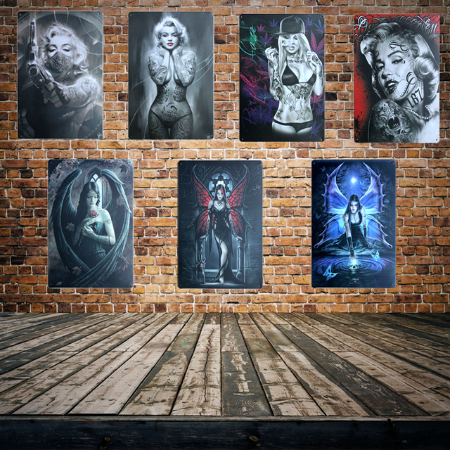 Sexy Tattoo Marilyn Monroe Metal Sign Mural Painting Antique Room Parlors Cinema Poster 20×30 Cm Aa-650