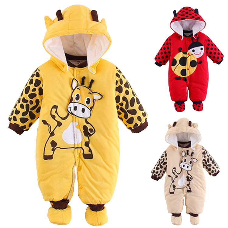Baby Thick Warm Jumpsuits Autumn Winter Baby Outfits 100 Cotton Baby Girls Clothing Cartoon Baby Boys
