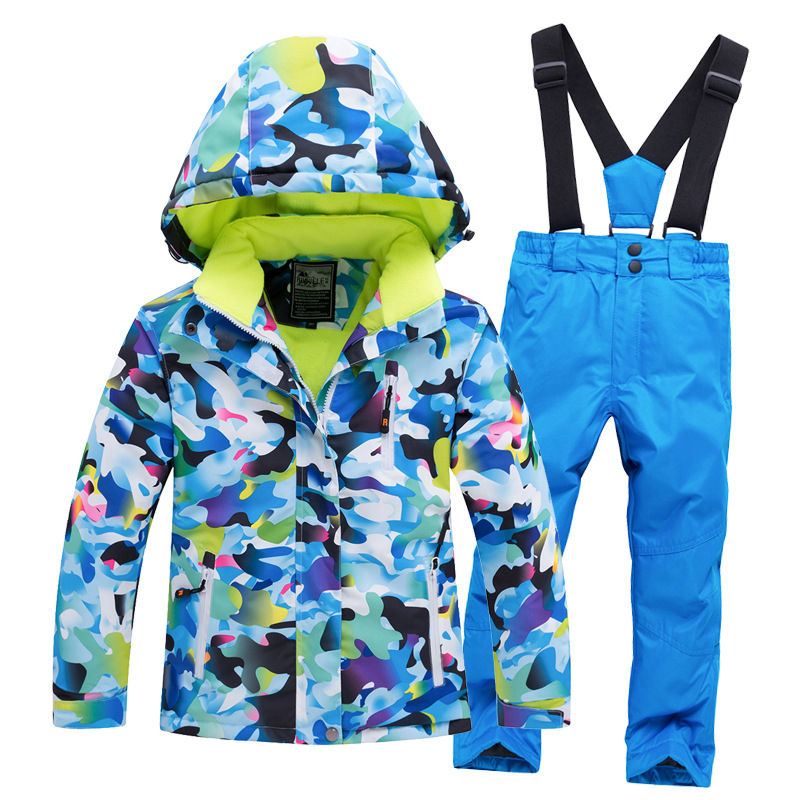 Thermal Kids Ski Suit Boys Girls Skiing Jacket Pants Set Windproof Waterproof Snowboarding Jacket Winter Children's Outdoor Wear