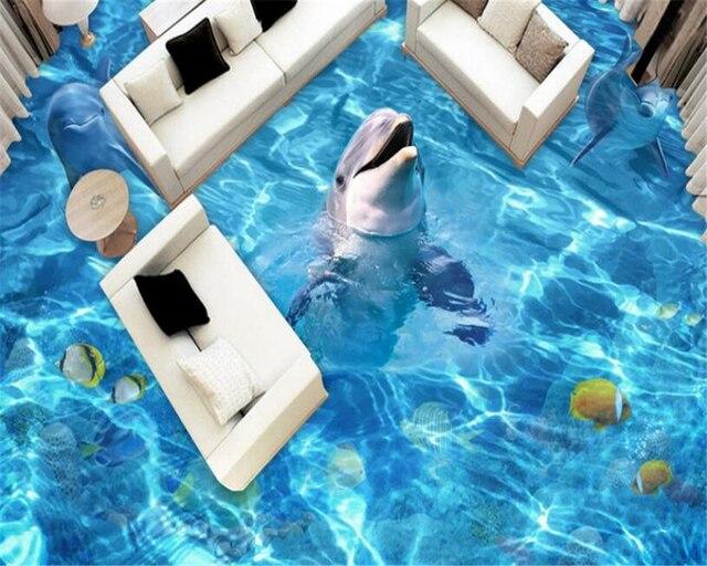 3d Fußboden Aufkleber ~ Beibehang dolphins d bodenbelag fliesen malerei schlafzimmer bad