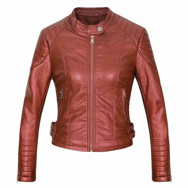 cool girls zipper slim red coats chic fashion women   suede     leather   jackets 2019 autumn ladies short bomb jacket