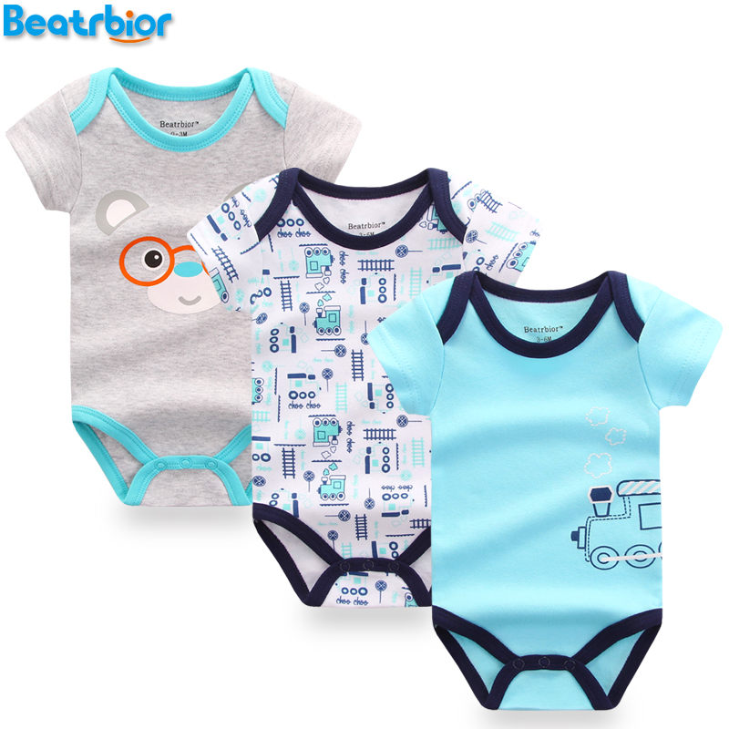3 pcs lot font b Baby b font Bodysuits Cotton font b Baby b font Boy
