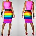 New Fashion 2016 Women Sexy Bodycon Sleeveless Club Dress Striped Rainbow Printed Elegant Bandage Slim Tank Midi Dresses