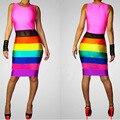 Nueva moda 2016 mujeres sexy bodycon sin mangas del club dress rainbow striped impreso elegante vendaje delgado del tanque vestidos midi