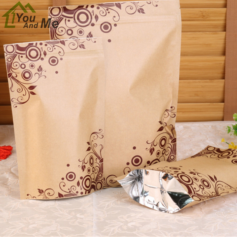 10 pcs/Lot Stand up Kraft Paper Bag Food Storage Bags Tea Coffee Gift Printing Packing Stand Pouch