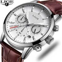 LIGE nouveau cadeau de mode hommes montre en cuir analogique Quartz montres 30M étanche chronographe Sport Date montre hommes montre homme 2019