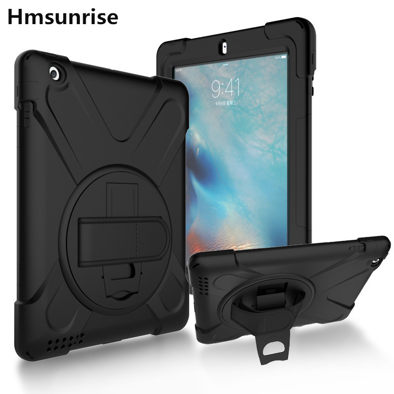 Hmsunrise Case For Apple iPad 4 For iPad 2/3/4 Kids Safe Shockproof Heavy Duty Silicone Hard Cover kickstand design Wrist strap