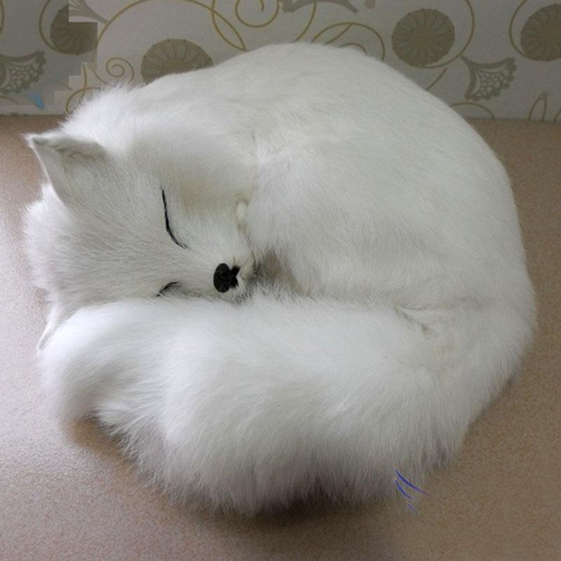 Big Size Cute simulation fox toy resin&fur fox yellow fox doll gift about diameter 27cm*high12cm