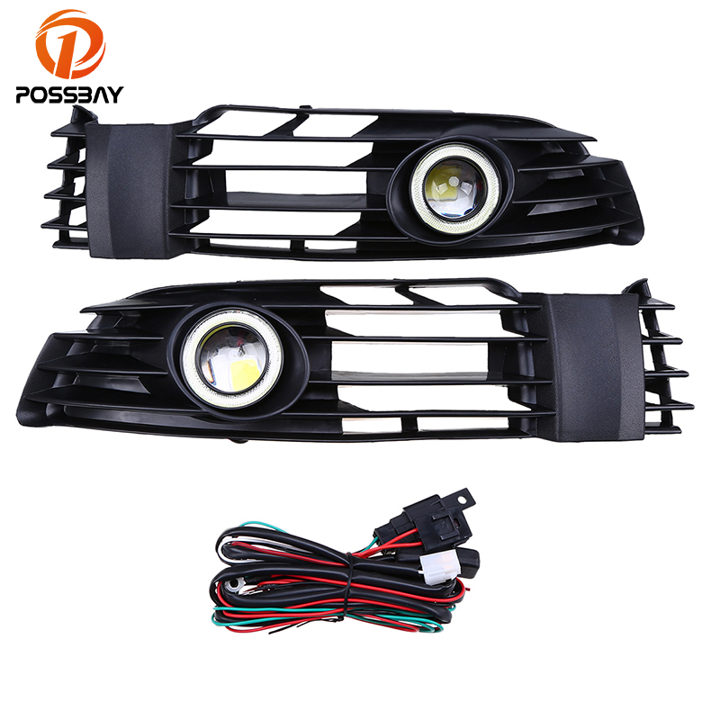 POSSBAY Fog Lights White Angle Eyes Front Lower Side Bumper DRL For VW Passat B5.5 Santana 2001-2005 Daytime Running Light for opel astra h gtc 2005 15 h11 wiring harness sockets wire connector switch 2 fog lights drl front bumper 5d lens led lamp
