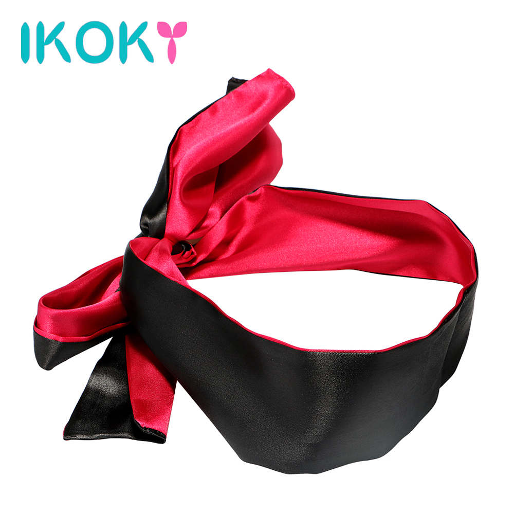IKOKY Red with Black SM Bondage Adult Games <font><b>Sex</b></font> Toys for Couple Blindfold Role Play Party NightLife <font><b>Sex</b></font> <font><b>Eye</b></font> <font><b>Mask</b></font> Erotic Toys image