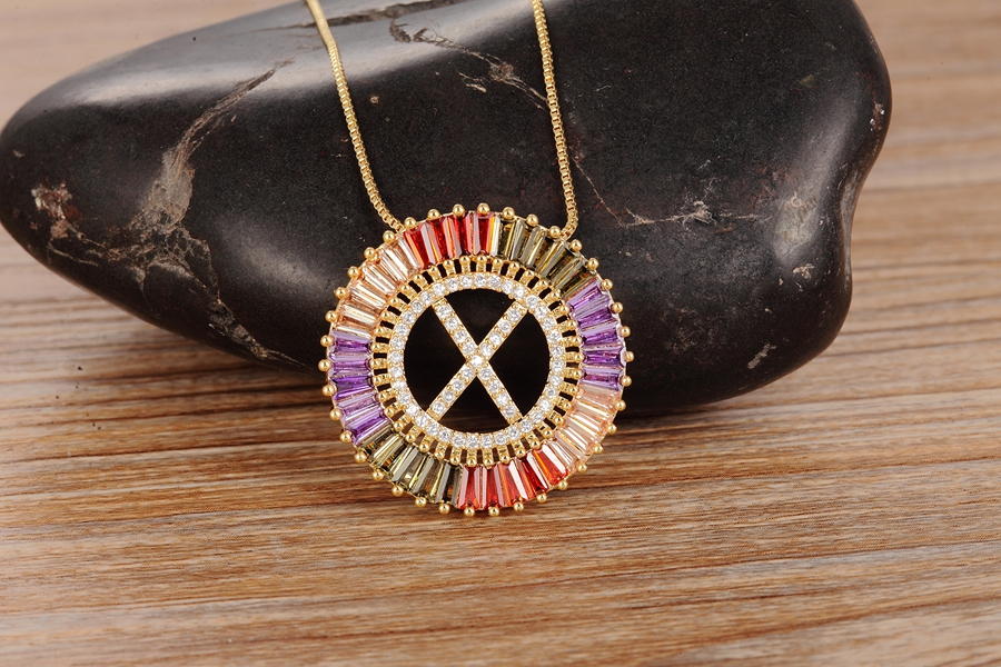 New Arrival Gold Color Micro Pave Rainbow CZ Cubic Zirconia A-Z Initials Letter Pendant Necklaces For Women Girls Fine Jewelry 7