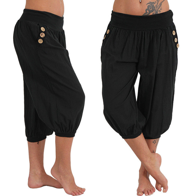 Women's Button Embellished Plus Size Yoga Capris Pants  7 colors S-5XL