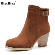 women square heels half short boots zipper sexy motorcycle bota winter warm mid calf boot footwear heels shoes P21908 size 32-43