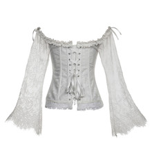 7fa58a9d8c2 Medieval retro Renaissance Victorian court dress corset lace top for women  sexy tights party costume(