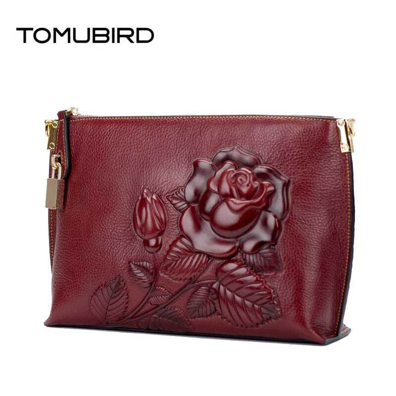 TOMUBIRD 2017 new superior leather embossed Envelope clutch bag designer famous brand women bag genuine leather shoulder bag