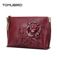 TOMUBIRD 2017 new superior leather embossed Envelope clutch bag designer famous brand women bag genuine leather shoulder bag
