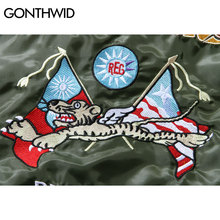 GONTHWID Embroidery MA1 Pilot Bomber Jackets Mens 2020 Autumn Tiger Embroidered Thin Bomber Jacket Coats Army Green Blue Black