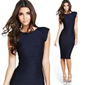 New 2016 Folds Dark Blue Pencil Summer Women Office Dress Casual Elegant Evening Party Dresses Sexy Vintage Business Clothing