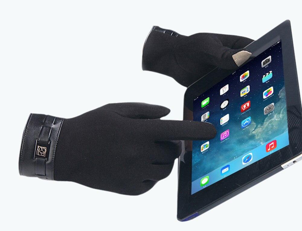 Мужские зимние Полный Палец Смартфон Сенсорный экран кашемир Прихватки для мангала варежки осенне-зимняя коллекция 2017 г. теплые Guantes Piel Mujer