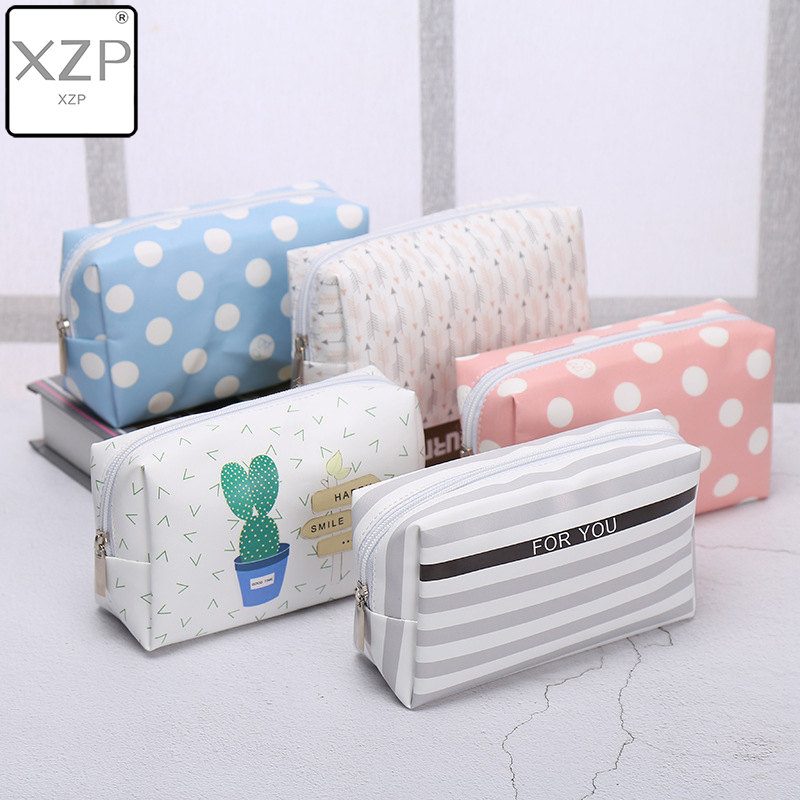 XZP Travel PU Leather Cosmetic Bag Korean Small Organizer Women Makeup Bag Make Up Case Toiletry Bags Beauty Storage Wash Bag
