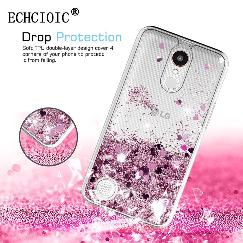 For LG K20 Plus  K20 V  Grace  Harmony Case Girls Women Liquid Quicksand Bling Cute Clear Soft TPU Silicone Cases Back Cover