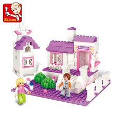 0156 SLUBAN Girl Friends Sweet House Cottage Model Building Blocks Enlighten Action Figure Toys For Children(China)