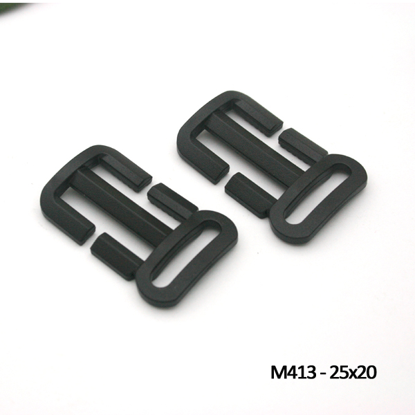 Wholesale Free shipping 80pcs black plastic slider TriGlide buckle adjustable buckle bag backpack webbing straps M413-25x20