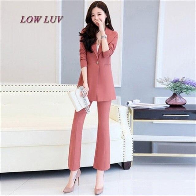 af6b8c0ede8 Women s Business Suits Formal Office pant Suits female Work wear 2 Piece  Sets One Button Uniform Designs Blazer Suit Jacket Set