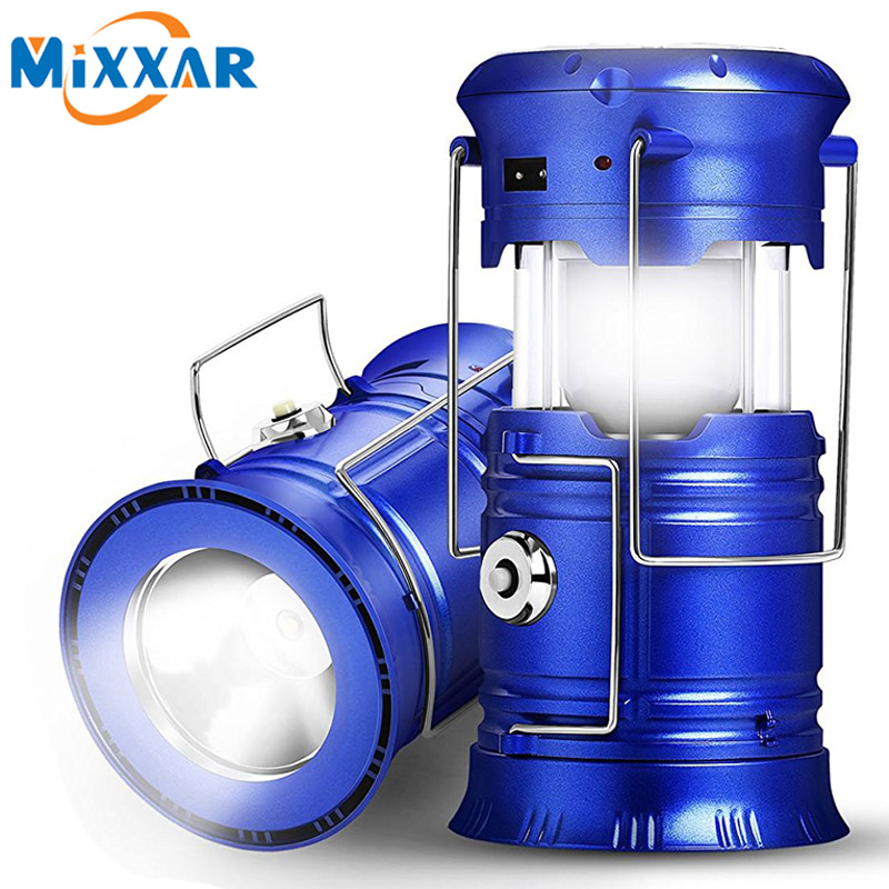 EZK20 LED Camping Lantern Flashlights Collapsible Solar Tent Light Gear Accessories Equipment for Outdoor Hiking Emergencies