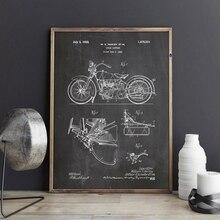 Patente de motocicleta Vintage Blueprint Poster impresiones motocicleta obra de arte de la ciencia cuadro sobre lienzo para pared regalo decoración de la habitación del hogar