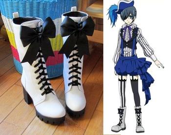 New Anime Black Butler Ciel Phantomhive Circus Cosplay Boots Lace-up High Heels Cosplay Shoes for Women/Men White Size 35-43 1
