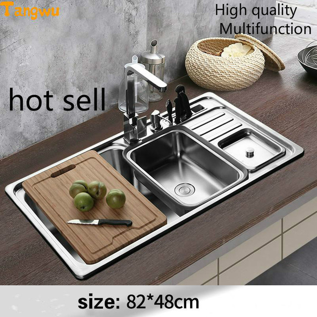 Tangwu 304 Stainless Steel Sink Single Slot Thickened Kitchen Vegetable Washing Basin Package Multifunctional