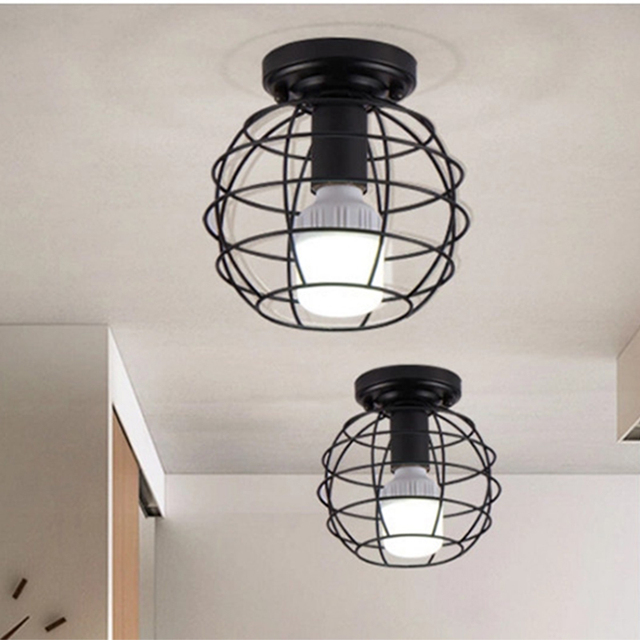 Zwarte SmeedijzerenLed Plafond Lampen  5