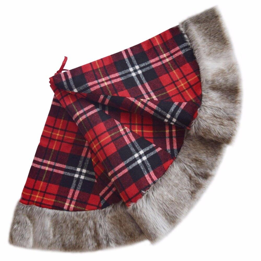 Free shipping Christmas Tree Skirt Plaid High Quality XMAS ...