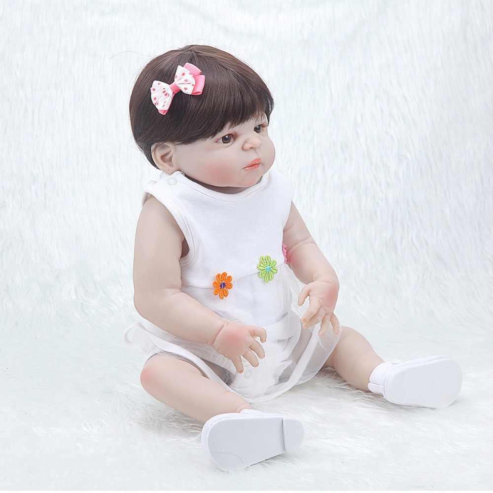 Bebe восстановленные куклы 55 см, силиконовые куклы, модные реалистичные Красивые белые платья для девочек